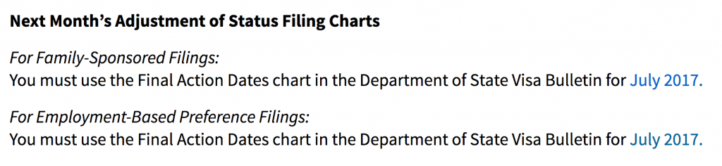 USCIS chart choice instructions
