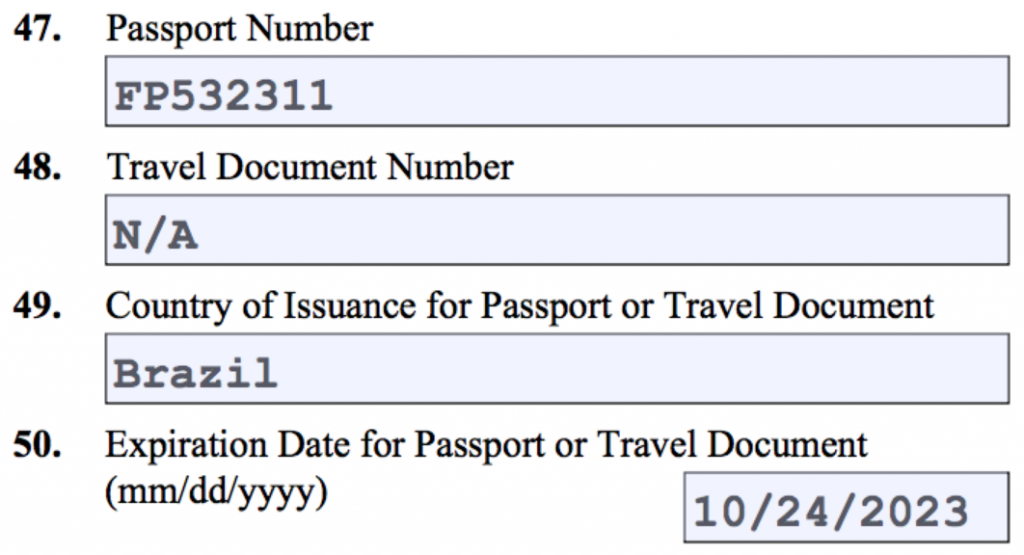 Questions 47 - 50. Passport.