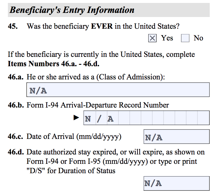 Beneficiary Entry Information. Questions 46.a - 46.d.