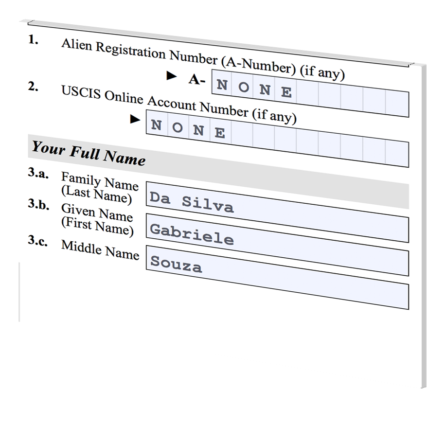 Beneficiary name I-130A