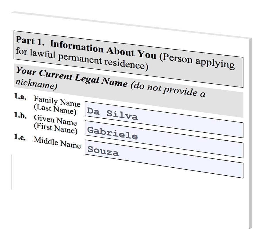 Form i-485 Applicant Name