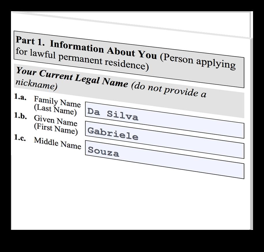 Form i-485 Applicant Name