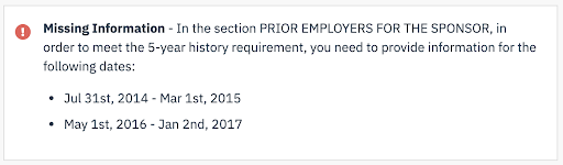 Missing Information: Employment History